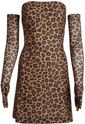 Cupid Dress & Gloves in Leopard Print