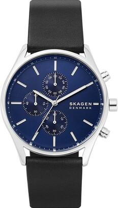 Skagen Men's Holst Quartz Analog Stainless Steel and Leather Watch