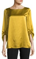 Lafayette 148 New York Elisio 3/4-Sleeve Bateau-Neck Silk Blouse