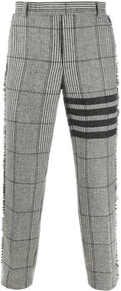 Thom Browne Oversized Check Frayed 4-Bar Chinos