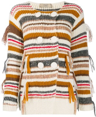 Maison Flaneur Striped Double-Breasted Cardigan
