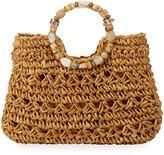 Cappelli Straworld Beaded Ring Crochet Straw Tote Bag, Neutral