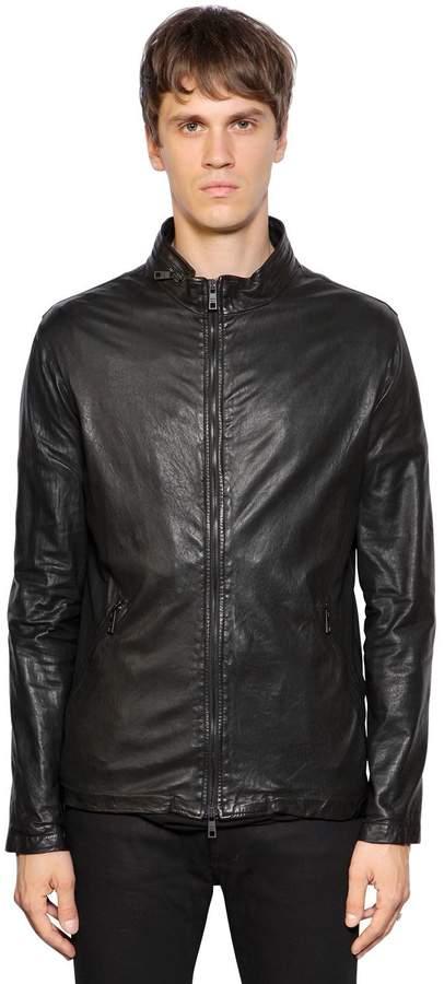 Giorgio Brato Zip-Up Washed Leather Jacket