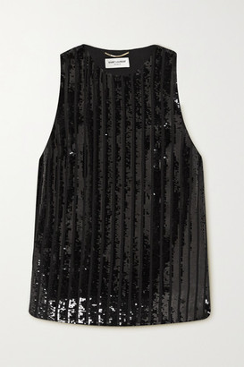 Saint Laurent Sequined Silk-crepe Tank - Black