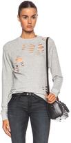R 13 Shredded Zip Side Cotton Sweatshirt in Gray.