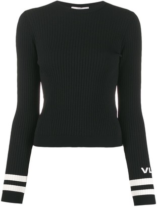 Valentino VLOGO ribbed crew neck jumper