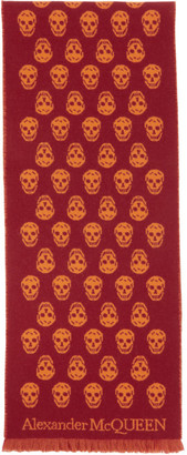 Alexander McQueen Red and Orange Skull Scarf