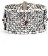 Konstantino Etched Silver & Rhodolite Garnet Cuff Bracelet