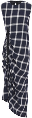 McQ Asymmetric Ruched Checked Twill And Flannel Midi Dress