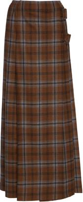 Agnona Pleated Wool-Blend Plaid Skirt