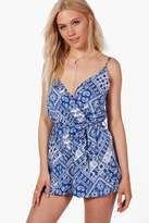 boohoo Zoe Blue Printed Cami Wrap Belted Playsuit blue