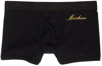 Moschino Black and Gold Embroidered Logo Boxers