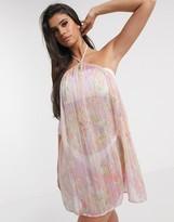 Asos Design DESIGN high neck trapeze mini beach sundress in floral metallic stripe print