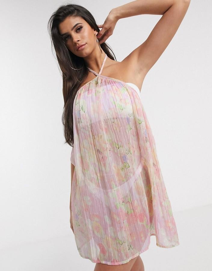 ASOS DESIGN high neck trapeze mini beach sundress in floral metallic stripe print
