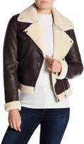 Romeo & Juliet Couture Faux Fur Moto Jacket