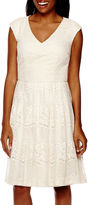 London Times Liz Claiborne Sleeveless Lace A-Line Dress