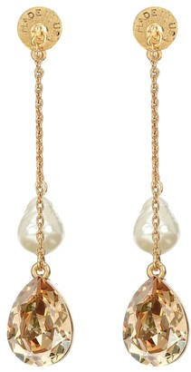 Oscar de la Renta Baroque-pearl and crystal drop earrings