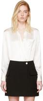 Alexander Wang Ivory Silk Wrap Shirt Bodysuit