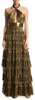 Elie Saab Metallic Georgette Halter Gown, Gold
