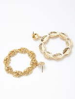 Very Textured Drop Hoop Earrings - Gold