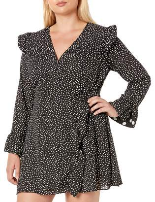 City Chic Women's Apparel Women's Plus Size Long Sleeve Spotted Skort Detailed Playsuit