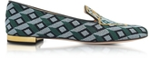 Charlotte Olympia Lady Liberty Multicolor Embroidered Canvas Slipper
