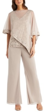 R & M Richards Petite 2-Pc. Cape Overlay Top & Pants Set