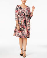 NY Collection Plus Size Pleated Fit and Flare Dress