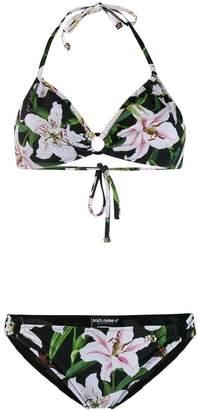 Dolce & Gabbana lily-print halter-neck bikini