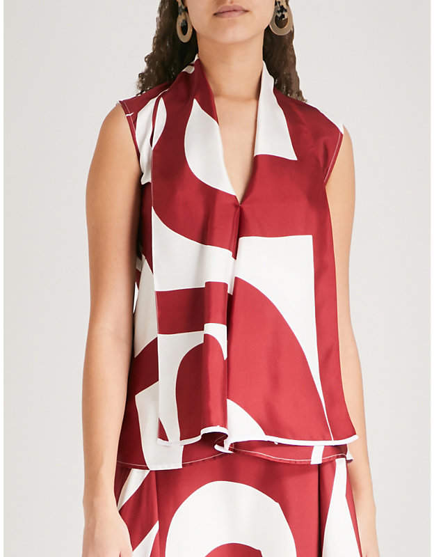 Victoria Beckham Abstract-print draped silk-twill blouse