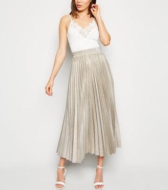 New Look Glitter Pleated Midi Skirt