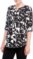 Ivanka Trump Printed Roll-Sleeve Georgette Blouse