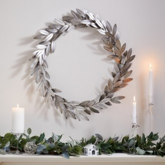 The White Company Metal Leaf Wreath, Silver, One Size
