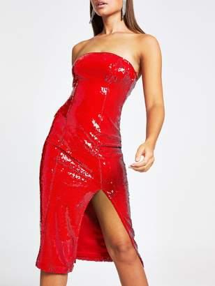 River Island Sequin Split Front Midi Dress-red