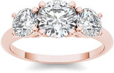 MODERN BRIDE 2 CT. T.W. Diamond 14K Rose Gold 3-Stone Engagement Ring