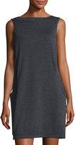 Max Studio Sleeveless Terry Shift Dress, Charcoal/Natural