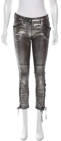 Isabel Marant Metallic Leather Skinny-Leg Pants w/ Tags