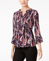 Charter Club Petite Printed Pintucked Top, Created for Macy's