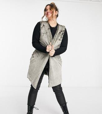 ELVI Plus faux fur vest in brown