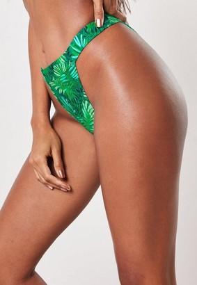 Missguided Green Palm Print Mix And Match High Leg Tanga Bikini Bottoms