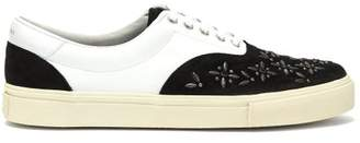 Amiri Studded Leather And Suede Trainers - Mens - Black White