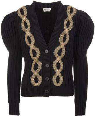 Alexander McQueen Woman Black Short Cardigan With Metallic Braids