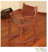 Novica Colonial Country Artisan Designer Handmade Hand Tooled Fine Leather Brown Mohena Wood Home Decor Furniture Rocking Chair (Peru)