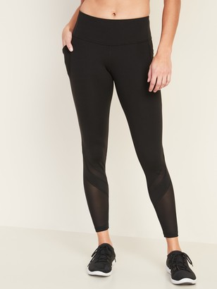 Old Navy Mid-Rise Elevate Side-Pocket Mesh-Trim 7/8-Length Leggings for Women