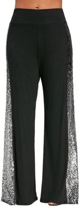 "TIFIY Women Casual Gradient Sequins Insert Daily Casual Yoga Sports Home Wear Wide Leg Pants Trousers Leggings (2XL(Waist 31.5-40.9"")"