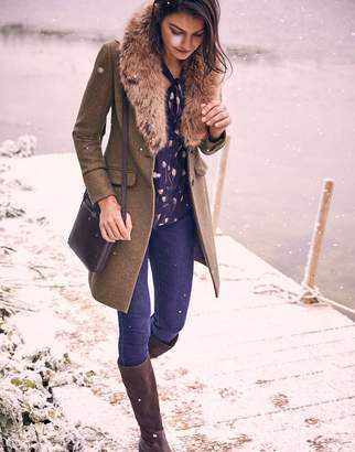 Joules Langley Longline Coat With Faux Fur Trim