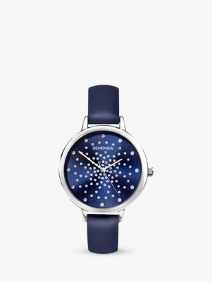 Sekonda 2944 Women's Crystal Leather Look Strap Watch, Blue
