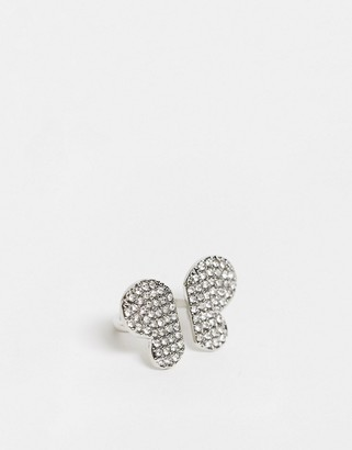 ASOS DESIGN statement ring in butterfly shape with crystals in silver tone