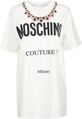 Moschino Logo Print Embellished T-shirt Dress