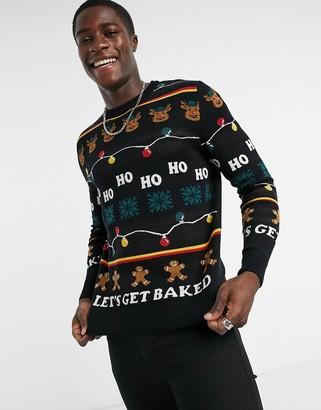Jack and Jones Originals Christmas sweater in black